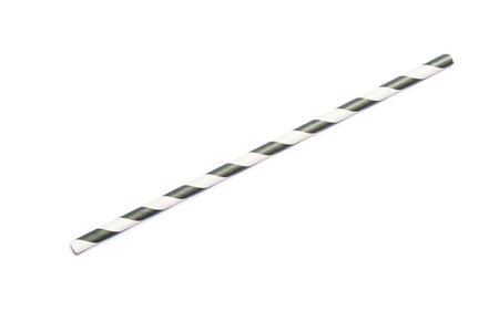 A single gray drinking straw in retro style with gray and white stripes on white background