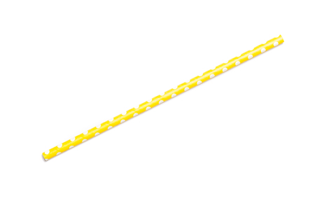 tubules: A single yellow drinking straw in retro style with yellow and white stripes on white background
