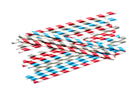 tubules: Several drinking straws in blue, red. gray and white on white background Stock Photo