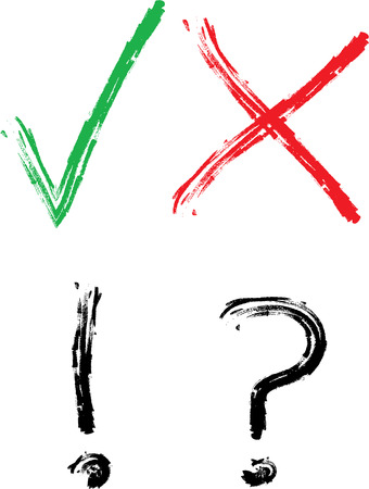 check mark sign: Right or wrong. Vote marks for election. Checkmark, X, Exlamation mark, Question mark Illustration