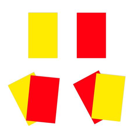 Rood en geel voetbal kaarten. Zowel alleen als samen.