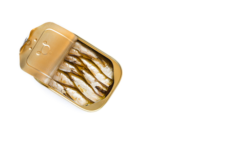 Can of sardines isolated on white background