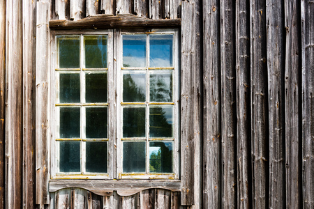 stained glass panel: Old window and wood wall.  Abandoned house Stock Photo