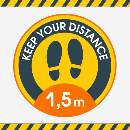 Floor sticker round Keep a distance of 1.5 meters for marking the distance between customers at checkout and in other public places. Protection from coronavirus. Stickers for public places where there are a lot of people Banque d'images - 146178030