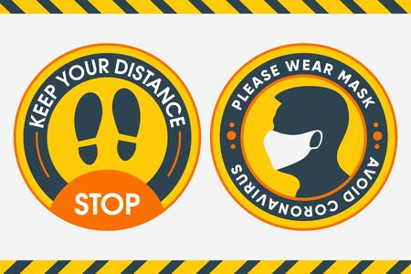 Yellow Round Sticker for print. Keep your distance and Please wear Mask for safety from Covid-19. Vector Image. To use the checkout where there is a mass gathering of people. For shops, beauty salons, buses, stores