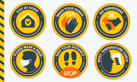 Install yellow round stickers in public places. The character set contains stickers such as washing your hands, keeping your distance, stay at home, putting on masks, and more. To avoid getting infected with a virus.