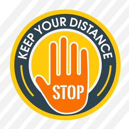 Keep your distance. Social Distancing. Round Floor Marking shoe prints.Instruction Icon. Vector Image.
