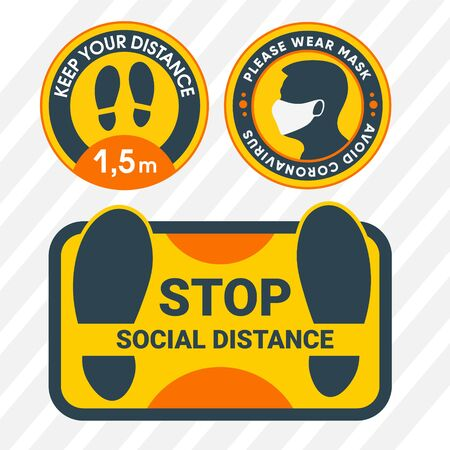 Social distance. Yellow stickers for the floor. To reduce the spread of the covid-19 virus. Sticker for doors with the inscription - Please put on a mask.