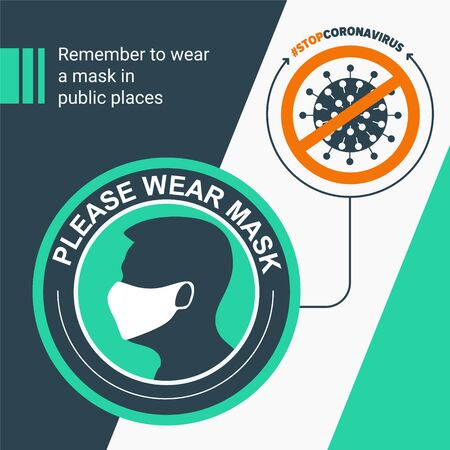 Remember to wear a mask in public places. Round green sticker protection from virus. For poster, banner, social media Ilustracja
