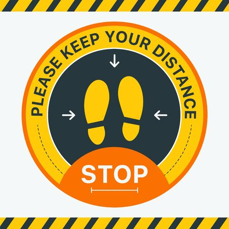 Keep Your Distance. Round floor marking shoe prints social distancing Instruction Icon. Vector Image. Stickers for public places where there are a lot of people