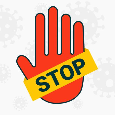 Sign vector stop. Red hand with a yellow stripe. Avoid the coronavirus. Banner for social networks. 向量圖像