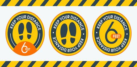 Set sign Keep your distance 6 feet. Floor marking shoe prints. Round floor marking. Shoe prints social distancing instruction icon. Vector image. Flat simple design.
