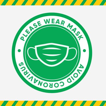 Please wear mask. Avoid coronavirus. Sticker green for opening a company after a coronavirus