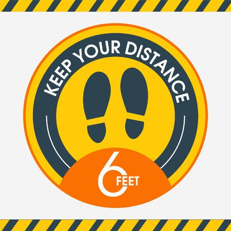 Social distance.Please keep your distance. Stay 6 feet apart. Yellow Information stickers. Round yellow floor marking shoe prints. Social distancing Instruction Icon. Vector Image. For public places.