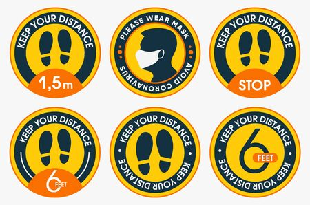 Please keep your distance. Collections of social distancing marking round floor stickers. To protect yourself from the covid-19 coronavirus. Vector flat design