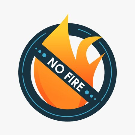 No fire. Do not play with fire. Warning sign Isolated on a white background. Graphic element for design. Modern round safety symbol
