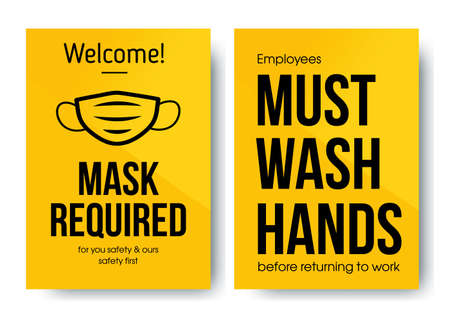 Yellow warning sign. Poster for the opening of business after the quarantine. Welcome Mask required. Must wash hands, before returning to work