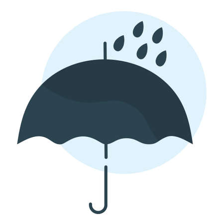 Simple vector illustration of a dark blue umbrella. Isolated on a white background. Graphic resource for flyers, banners, articles, and printing.  イラスト・ベクター素材