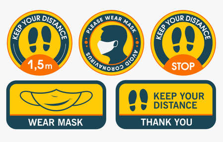 Floor stickers. Collection of Social distancing for print. Please Keep Your Distance. Please wear mask. Marking tape where there are a lot of people. Stop, keep your distance.
