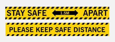 Stay safe 1.5 meters apart. Please keep safe distance. Line sticker floor. Supporting distance, floor tape, shopping malls, schools, hospitals, public places.