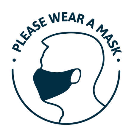 Please put on your mask. Simple minimalistic style on a white background