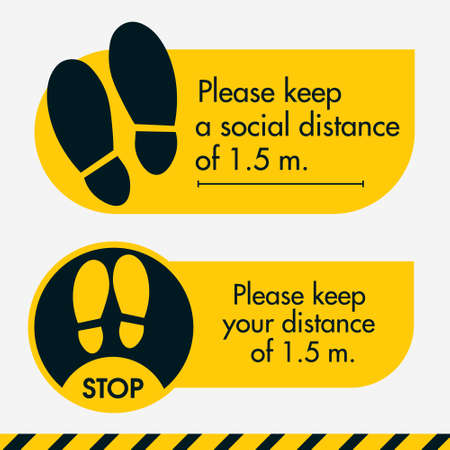 Please keep a social distance of 1.5 meter. Two Floor sticker yellow colors. Put it where it is required in stores and offices, shopping and business centers. To keep people at a distance