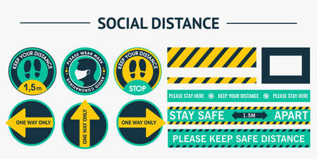 Sticker round social distance stickers. Please Keep Your Distance. Please put on your mask. Security lines, marking tape of different thickness.