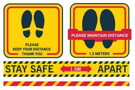Social distancing avoid coronavirus covid19. Stay safe 1.5 meters apart. Please keep your distance. Line sticker floor.