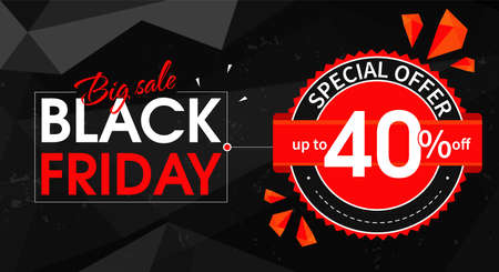 Abstract Black Friday banner template. Big sale. Special offer up to 40 percent discount. Design of a vector image for a web page, advertising, promotion and as a discount coupon.