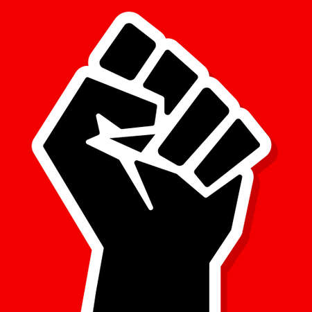 Black fist on a red background. Black lives matter. Vector square banner