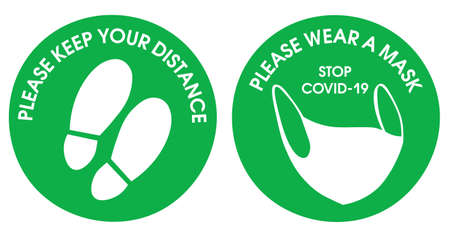 Green round sticker Keep your distance, and please wear a mask. For your safety and ours. Avoid coronavirus. Badge round sticker.