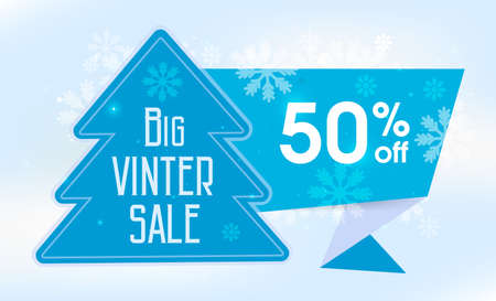 Big winter sale. Horizontal banner with a beautiful light background. Christmas tree with an abstract elements, in blue tones. Иллюстрация