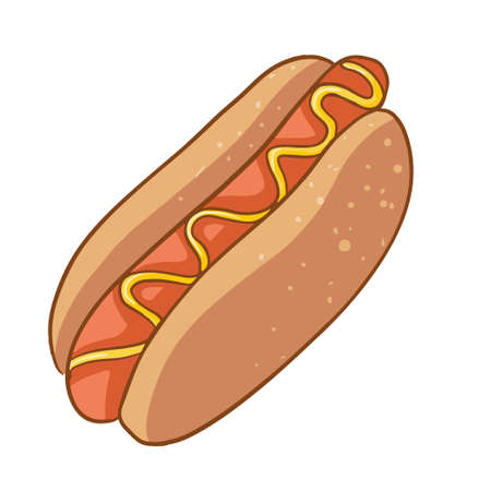 Vector hotdog with mustard. Cartoon style. Fast food hotdog for poster, menu