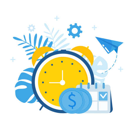 Time is money. Business and management. Calendar, with hours and coins.