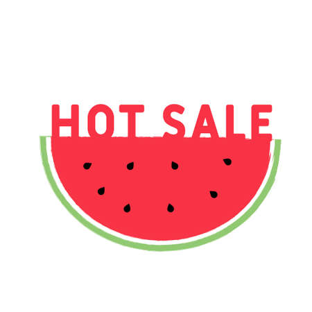 Hot sale. Creative Concept of summer. a slice of watermelon with the inscription hot sale. Summer sale. User for marketing, ad, promotion,