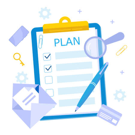 Daily planning is the key to success. Flat vector illustration.