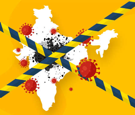 An outbreak of black mold disease after the coronavirus epidemic in India in people with weakened immune systems. Warning tapes show that the country has been quarantined