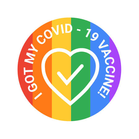 I got my covid19 vaccine, against the backdrop of an LGBTrainbow. For those who have been vaccinated against coronavirus.