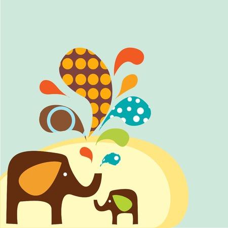colored stilyzed Cartoon Elephants  Illustration