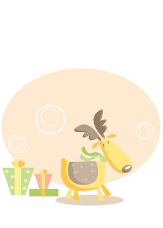cute deer christmas card Stock Vector - 5776144