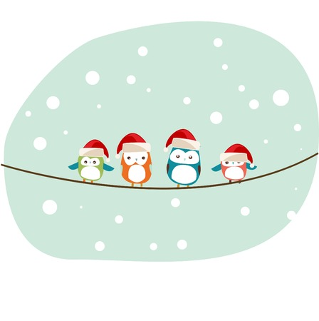 winter birds Christmas card vector Vector