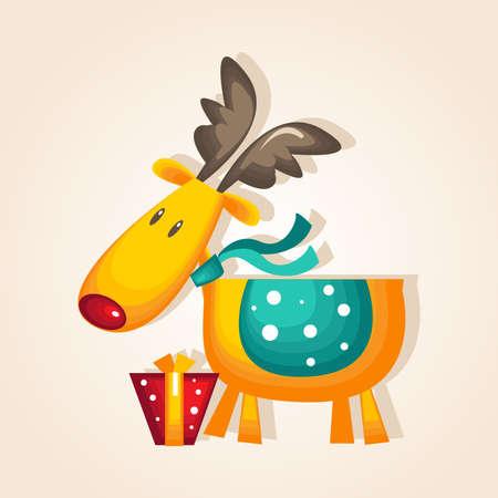 reno de navidad: Ilustraci�n de vectores de Reno de Navidad con Santa Hat
