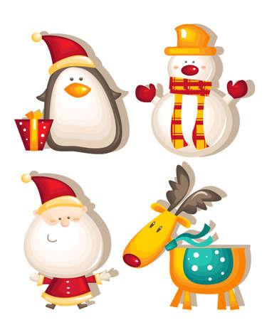 santa claus snowman rudolf penguin Illustration