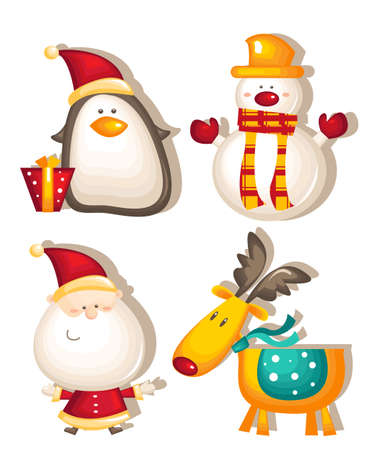 santa claus snowman rudolf penguin Vector
