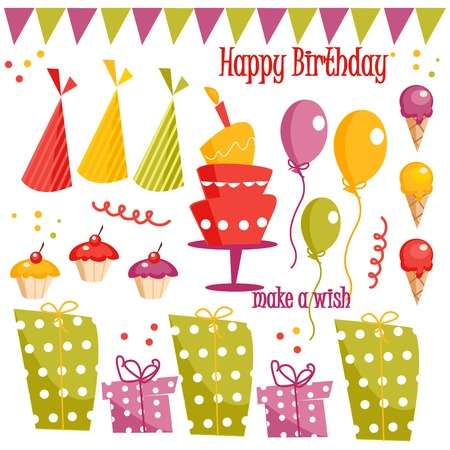 Birthday party graphic elements illustration Stock Vector - 6247736