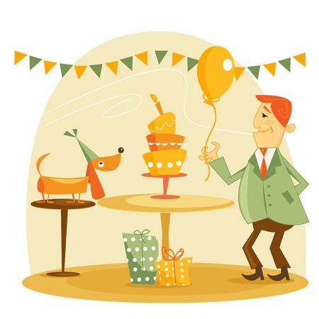 adult birthday party: Birthday party illustration