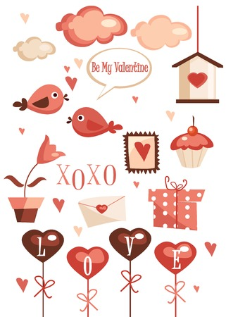 Valentines day graphic elements illustration Vector
