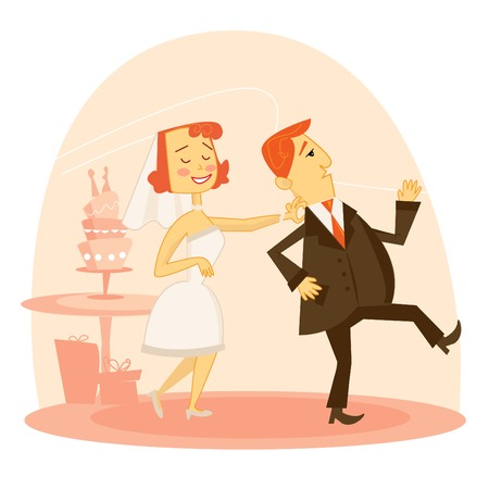 wedding couple: Cartoon wedding couple