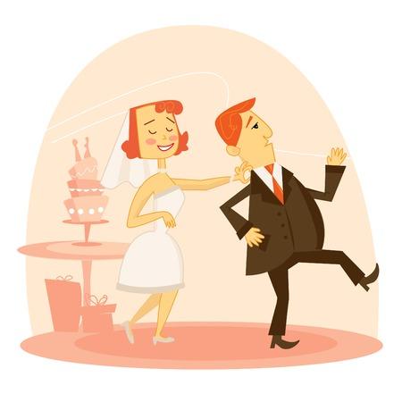 Par de boda de dibujos animados