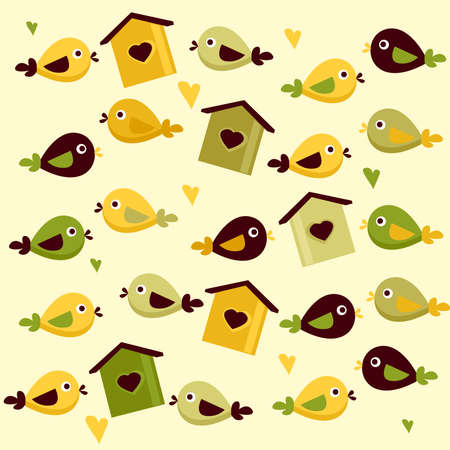Cute birds background Vector
